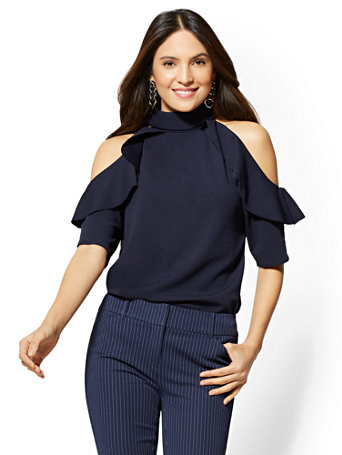 7th Avenue   Ruffled Cold Shoulder Top by New York & Company