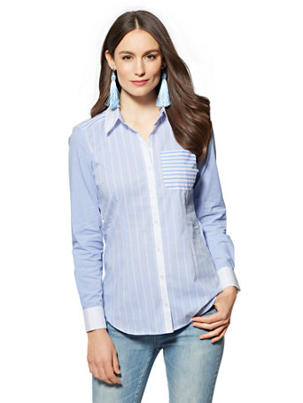 7th Avenue   Secret Snap Madison Stretch Shirt   Stripe   Blue by New York & Company