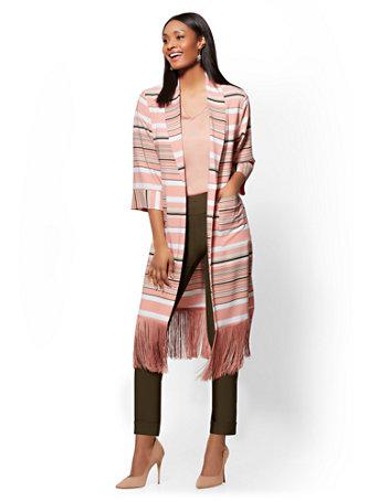 7th Avenue   Striped Fringed Kimono Jacket by New York & Company