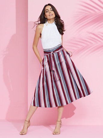 7th Avenue   Striped Full Skirt by New York & Company