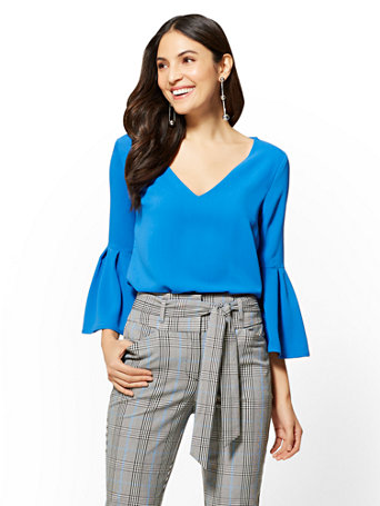 7th-avenue---v-neck-bell-sleeve-blouse by new-york-&-company