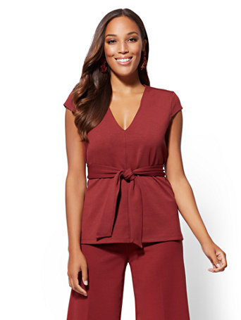 7th Avenue   V Neck Belted Top by New York & Company