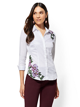 7th Avenue   White Floral Madison Stretch Shirt by New York & Company