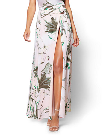 7th Avenue   Wrap Maxi Skirt   Tropical Print   Petite by New York & Company