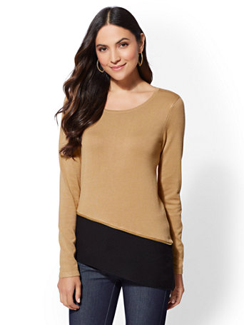 7th Avenue   Zip Accent Colorblock Sweater by New York & Company