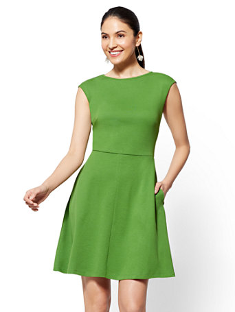 Bateau Neck Cotton Fit And Flare Dress by New York & Company