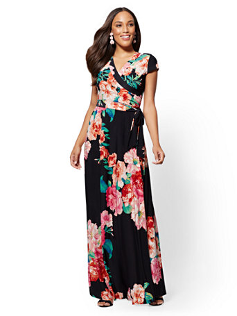 Black Floral Maxi Dress by New York & Company