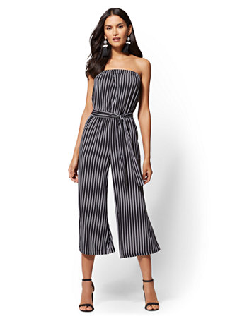 Black Stripe Strapless Jumpsuit by New York & Company