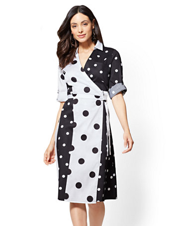 Black And White Dot Print Shirtdress by New York & Company