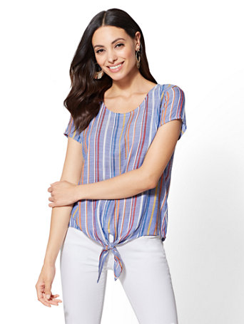 Blue Stripe Tie-Front Top | Tuggl