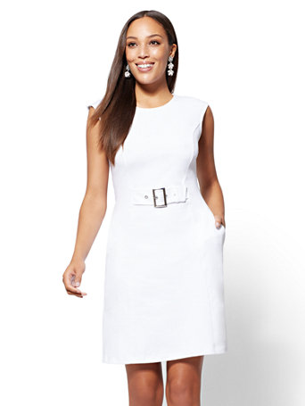 Buckle Accent Cotton Fit And Flare Dress by New York & Company