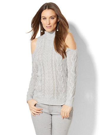 Ny Amp C Cable Knit Cold Shoulder Sweater