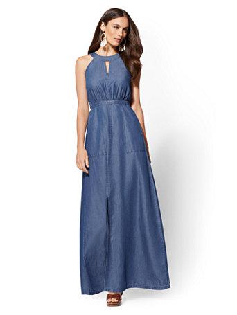 Chambray Halter Maxi Dress   Dark Wash by New York & Company