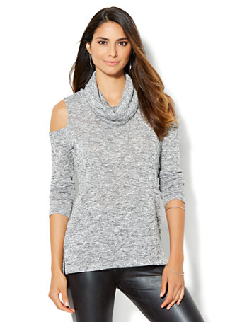 NY&C: Cold-Shoulder Cowl-Neck Sweater