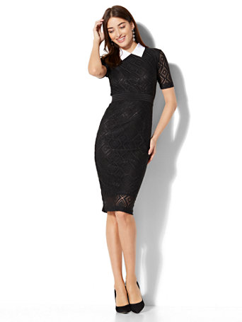 Lace overlay sheath dresses
