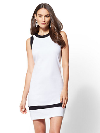 Colorblock Cotton Shift Dress | Tuggl