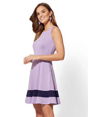 Colorblock Fit And Flare Cotton Dress by New York & Company