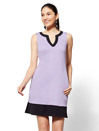 Cotton Colorblock Shift Dress by New York & Company