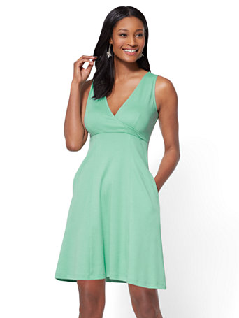 Ny Amp C Cotton Wrap Front Fit And Flare Dress