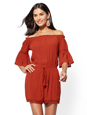 Crochet Trim Off The Shoulder Romper by New York & Company