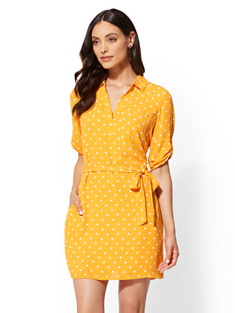 Dot Print Belted Shirtdress by New York & Company