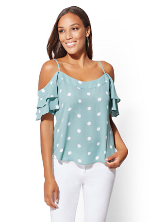 Dot Print Cold Shoulder Blouse by New York & Company