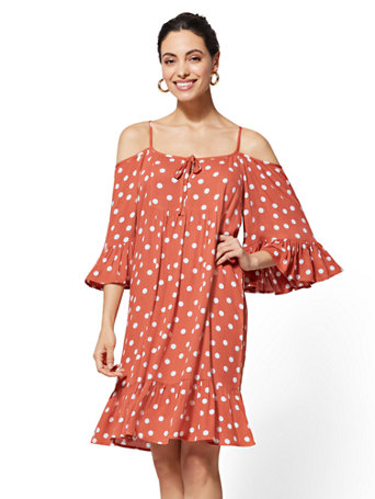 Dot-Print Cold-Shoulder Shift Dress | Tuggl