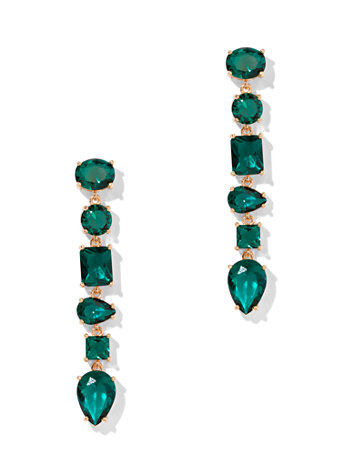 Emerald Hued Crystal Linear Drop Earring by New York & Company