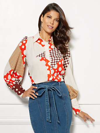 eva-mendes-collection---dot-print-kelsey-blouse by new-york-&-company