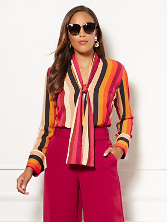 Eva Mendes Collection   Stripe Marisa Blouse by New York & Company