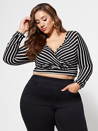 Ftf Angie Striped Crop Top by New York & Company