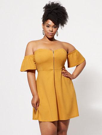 Ftf Callista Zip Front Dress by New York & Company
