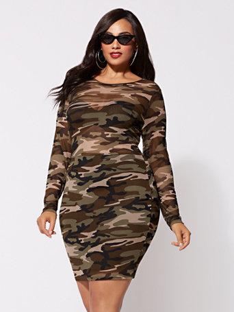 Ftf Camo Mesh Bodycon Dress by New York & Company