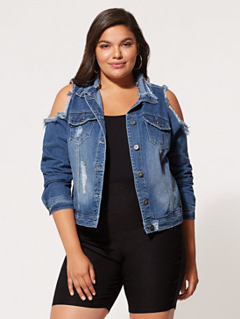 Ftf Cold Shoulder Trucker Jacket by New York & Company