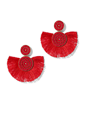 Ftf Coral Fringe Earrings by New York & Company