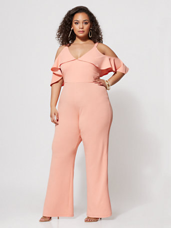 Ftf Dawn Ruffle Jumpsuit by New York & Company