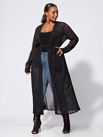Ftf Delaney Sheer Striped Duster by New York & Company