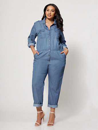 Ftf Denim Military Jumpsuit by New York & Company