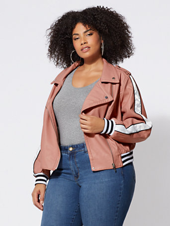 Ftf Faux Leather Varsity Jacket by New York & Company