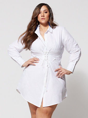 Ftf Girl Boss Corset Shirt Dress by New York & Company