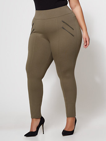 Ftf Good Form   Double Zipper Ponte Pants by New York & Company