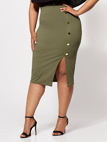 Ftf Ivy Button Accented Pencil Skirt by New York & Company