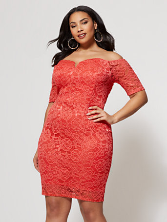 Ftf Ivy Lace Bodycon Dress by New York & Company