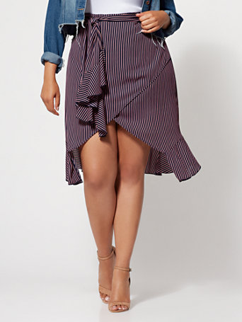 Ftf Mika Wrap Stripe Skirt by New York & Company