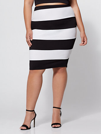 Ftf Monica Striped Pencil Skirt by New York & Company