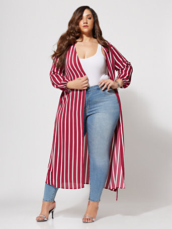 Ftf Perri Striped Duster by New York & Company