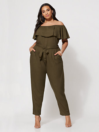 Ftf Racquel Off Shoulder Jumpsuit by New York & Company
