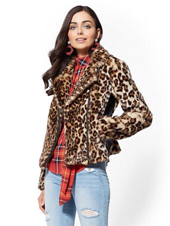 Faux-Fur Leopard-Print Moto Jacket | Tuggl