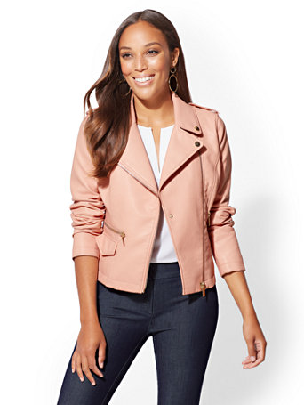 Faux Leather Collar Moto Jacket by New York & Company