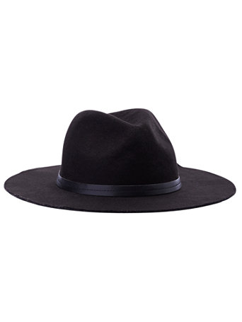 Faux Leather Trim Western Hat by New York & Company